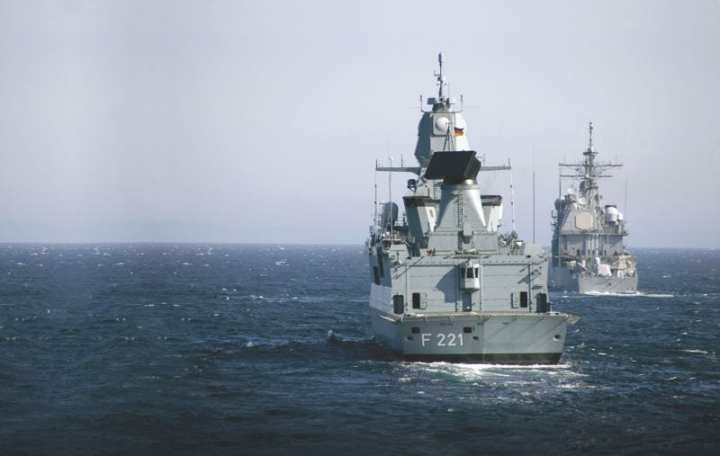 The German Sachsen-class frigate Hessen (F 221) and USS Normandy (CG 60) participate in Exercise Neptune Warrior off the coast of Scotland on May 1, 2007. Hessen uses a high-frequency active phased array radar (APAR) forward, and long-range target detection radar aft, while the Aegis cruiser employs the SPY-1 passive phased array. U.S. Navy Photo by Mass Communication Specialist Seaman Michael Starkey