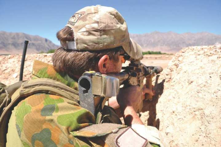 An Australian Special Forces soldier on overwatch at Gizab, Afghanistan. The Taliban was ousted from a northern Oruzgan town and local government restored thanks to a community uprising supported by Australian Special Forces soldiers and their Afghan partner force, the Provincial Police Reserve (PPR). In the northern Oruzgan town of Gizab, 10 members of the Taliban were confirmed to have been killed in a series of firefights commencing on April 21, which saw the SOTG, the PPR, and locals take on the insurgents who were intimidating the population through violence. Australian Defence Force photo