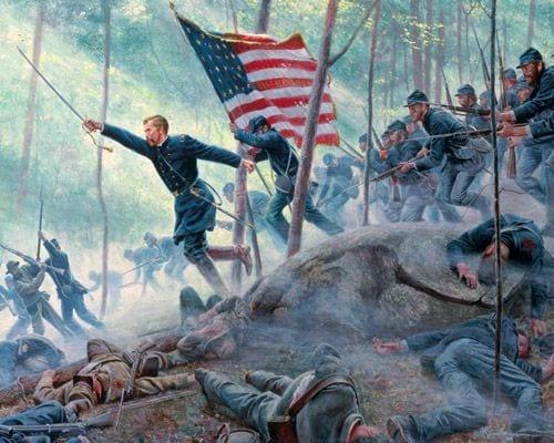 Painting of Col. Joshua Chamberlain at Gettysburg