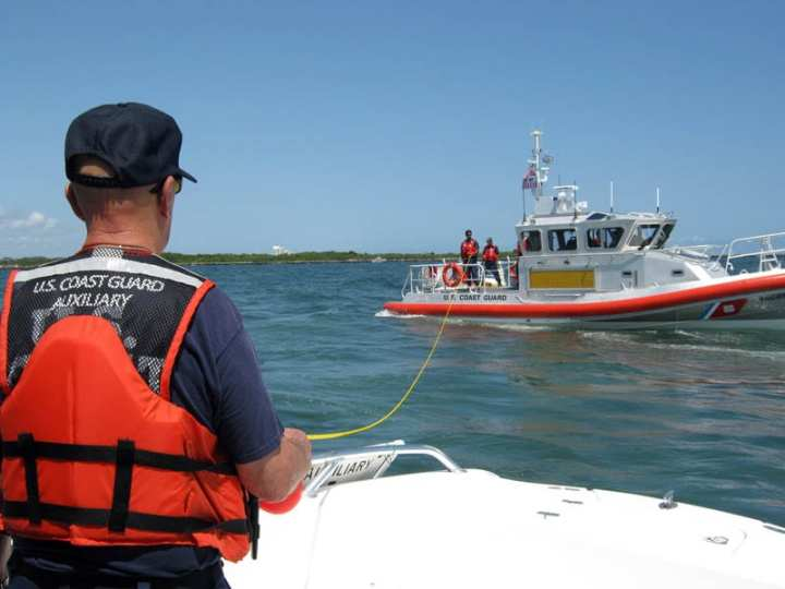 Auxiliarist during towing drill at Cape May