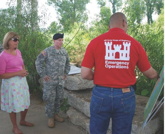 "U.S. Rep. Jo Ann Emerson and Maj. Gen. Merdith ""Bo"" Temple, acting commanding general of the U.S. Army Corps of Engineers (USACE), are briefed June 9, 2011, on the operation of the Birds Point-New Madrid Floodway by USACE's Memphis District chief of operations, Russell Davis. U.S. Army Corps of Engineers photo"