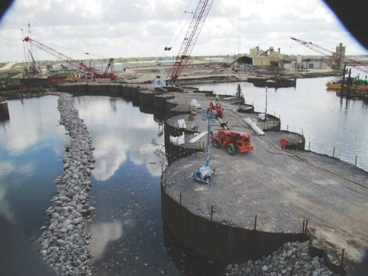 Completion of the north wall, seen here March 18, 2011, at the Seabrook Floodgate Complex, and the east and west tie-ins, both components of the Hurricane and Storm Damage Risk Reduction System, will defend against a storm surge event that has a 1 percent chance of occuring in any given year. U.S. Army Corps of Engineers photo, Team New Orleans