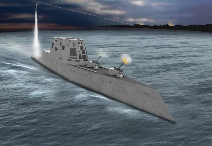 An artist's rendering of a Zumwalt-class destroyer (DDG 1000). U.S. Navy image via Wikimedia Commons