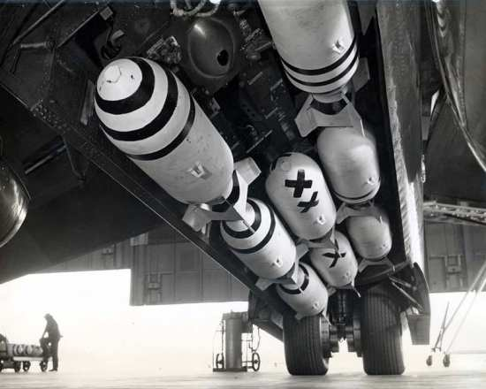 500-lb. bombs in XB-51 rotary bay