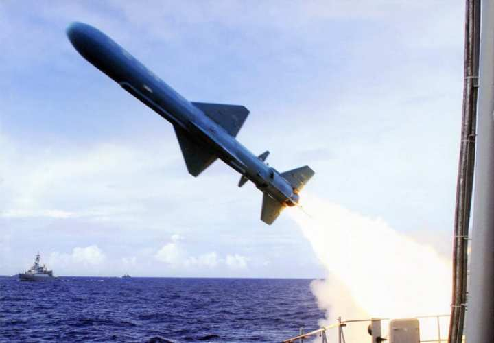 A People's Liberation Army Navy (PLAN) missile boat launches a YJ-8 anti-ship missile. Chinese Internet photo