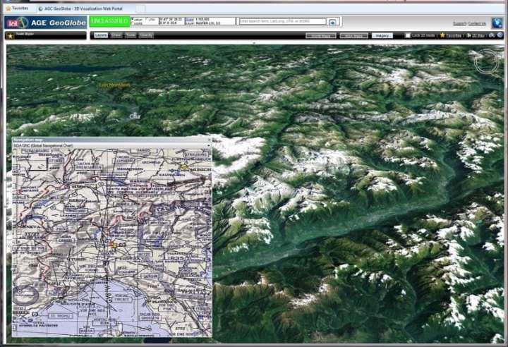 The AGE GeoGlobe is a 3-D terrain visualization and analysis tool that operates either online using federated enterprise servers or as a stand-alone system in disconnected environments. Courtesy KGC Terrain Analysis Branch