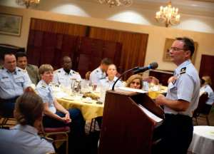 "Coast Guard Lt. James Couch speaks to cadets at the U.S. Coast Guard Academy Sept. 24, 2012, during a special dinner commemorating the one year anniversary of the repeal of the ""Don't Ask, Don't Tell"" policy. U.S. Coast Guard photo by Petty Officer 3rd Class Cory J. Mendenhall"