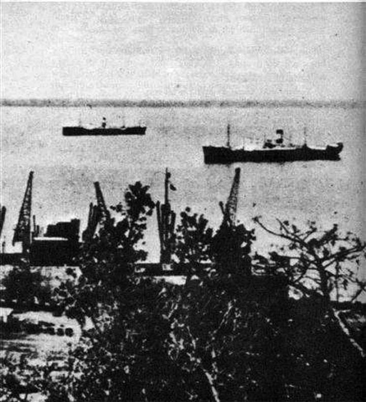 The German merchantman Ehrenfels at anchor in Mormugao harbor, Goa, ca. 1942. The Ehrenfels had a secret transmitter aboard which it used to communicate with German U-Boats. Photo courtesy of arnhemjim