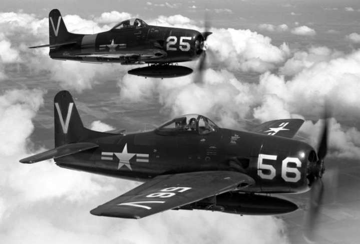 Naval Air Reserve F8F-1 Bearcats (bureau nos. 94818 and 95437) in flight over Long Island, N.Y., ca. 1950. Photo courtesy of Jim Hawkins