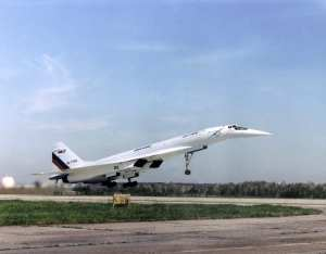 The Tupolev Tu-144LL lifts off from the Zhukovsky Air Development Center near Moscow, Russia, on a 1998 test flight. NASA photo by Jim Ross