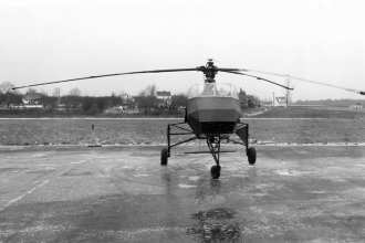 The Doblhoff WNF 342 V4 was a unique German helicopter design that employed jets to drive the rotors. National Archives photo