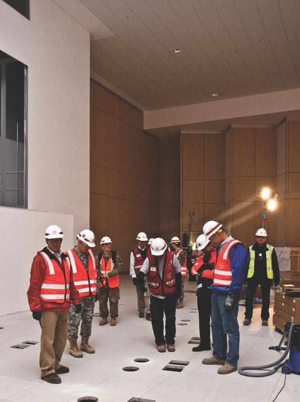 U.S. Army Corps of Engineers Europe District engineers and construction control representatives give Maj. Gen. Jeffrey Dorko (second from left), USACE deputy commanding general of Military and International Operations, and Tim Hess (right), director of USACE's International and Interagency Support Team, a tour of the U.S. Army Europe Mission Control Center construction project on the Wiesbaden Army Airfield, in Germany, Oct. 31, 2011. U.S. Army Corps of Engineers photo by Carol E. Davis