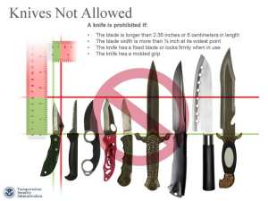 Larger knives, as well as razor blades and box cutters, will remain prohibited in carry-on luggage under the new rules. TSA image