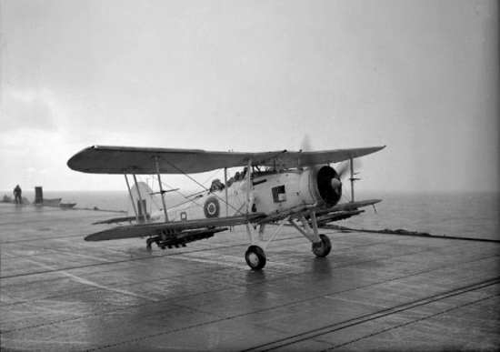 Swordfish taking off from HMS Tracker 1943