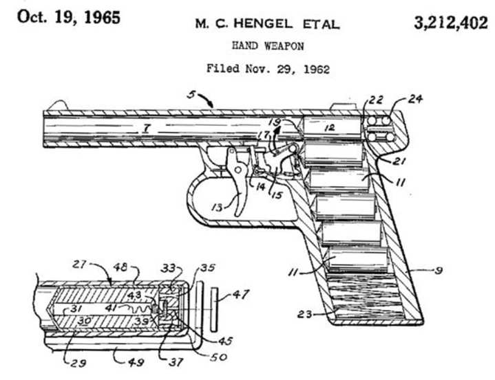Rocket pistol patent drawing
