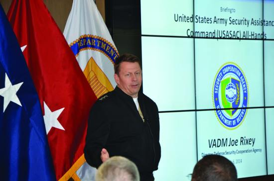 The director of the Defense Security Cooperation Agency (DSCA), Vice Adm. Joe Rixey, addresses the U.S. Army Security Assistance Command workforce at a town hall during his visit to Redstone Arsenal, Ala., March 12, 2014. U.S. Army photo by Kim C. Gillespie