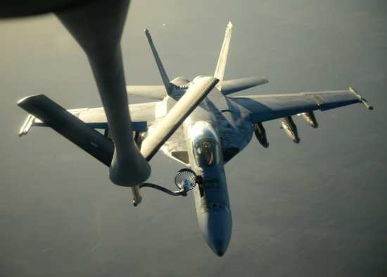 Air Force KC-135 Refuels Navy F/A-18s During Syria Strikes