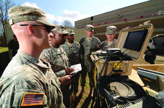 With 80 percent of ERDC's research and development funding directed toward warfighter support, the USACE Reachback Operations Center (UROC) connects Soldiers with field problems to subject-matter experts located in the continental United States on a 24/7/365 basis. ERDC photo