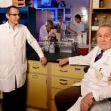 Dr. Andrew Schally (right) of the Miami VA Medical Center, a 1977 Nobel Prize winner, is part of an international team that has developed a new type of artificial pancreas. On the left is lab manager Ricardo Rincon. Photo by Larry Gilstad