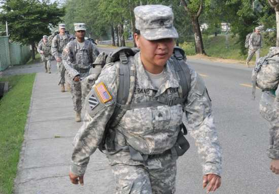 Sgt. Micheal Folkerth and Sgt. Miranda Medrano, both of the 501st Special Troops Battalion (STB), walk the closing stretch of an early morning Ruck March at Camp Carroll, South Korea, June 19, 2014. Sequestration's possible return also portends additional cuts of 70,000 active-duty troops, an additional 35,000 from the National Guard, and another 10,000 from the Reserve by fiscal year 2020, Odierno added. Sgt. 1st Class Josh Edson