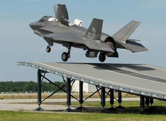 F-35B Makes First Ski Jump Launch