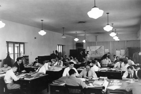 Langley engineers in the engine lab inCleveland, Ohio. NASA image