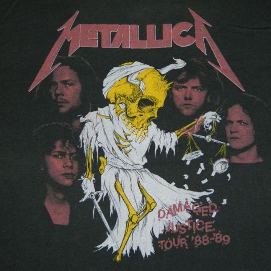 Black Metallic Wallpaper Vintage Metallica 88 89 Damaged Justice Tour T Shirt Concert