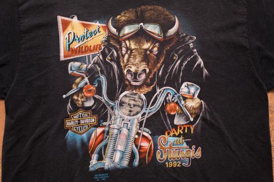 Stores That Have 3d Wallpaper 3d Emblem Party At Sturgis 92 Bison T Shirt Harley Davidson