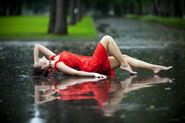 con la lluvia la tarde