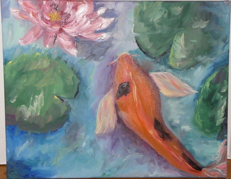 Swimming in the lilies Oil Painting