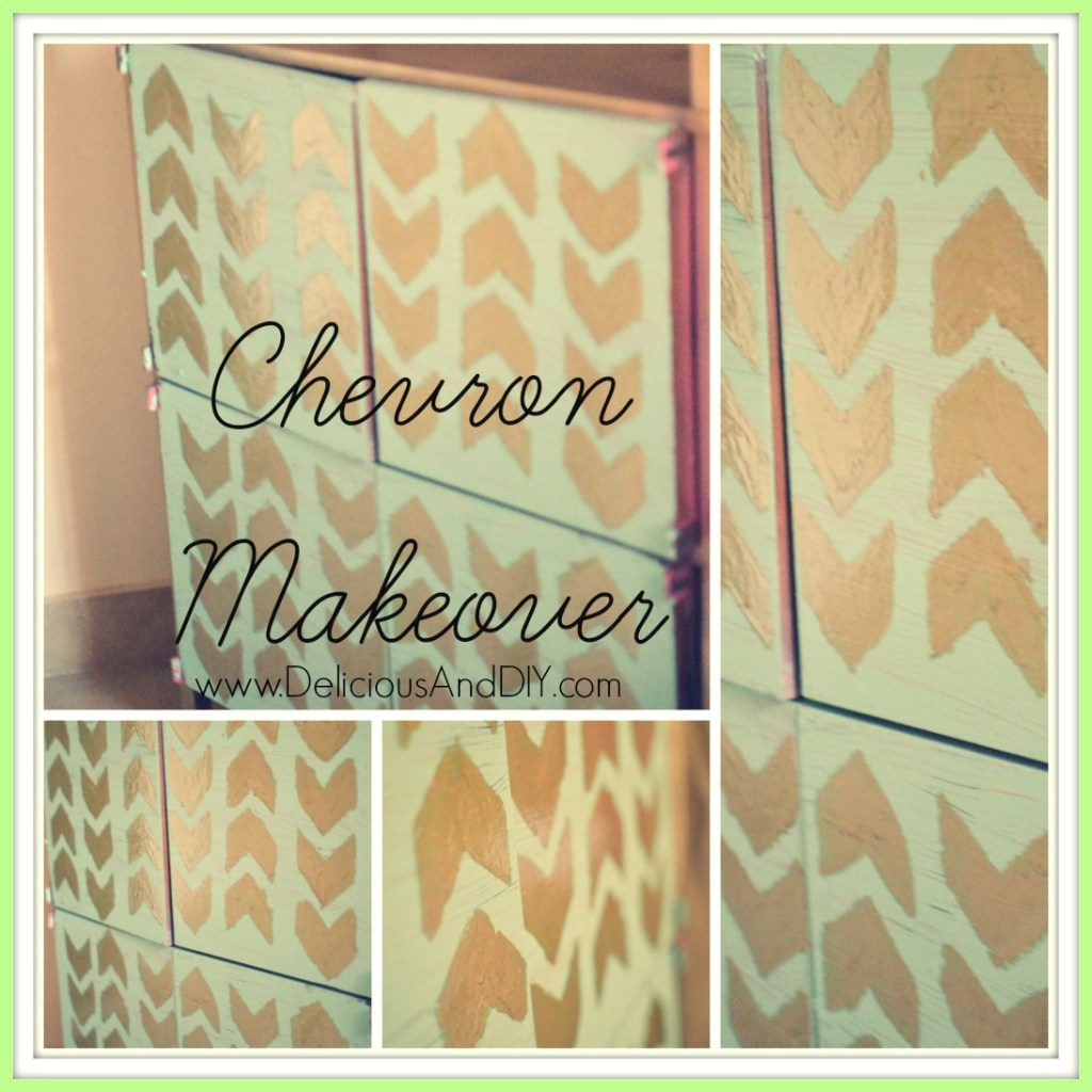 chevron-towel-cabinet- Delicious And DIY