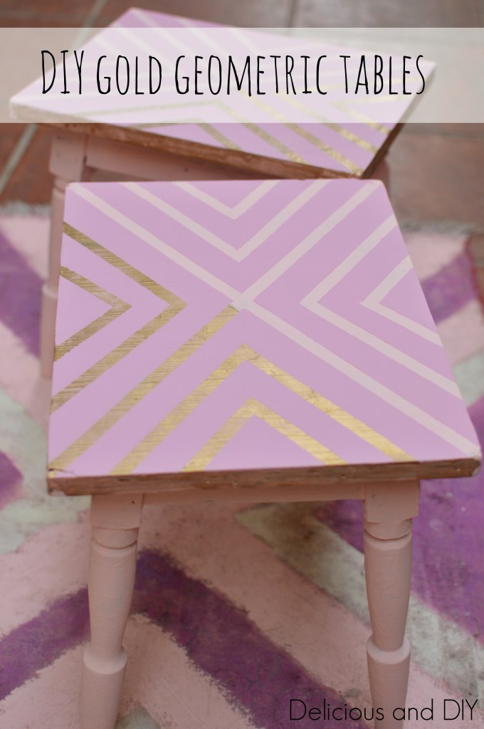 DIY Gold Geometric Table Makeover