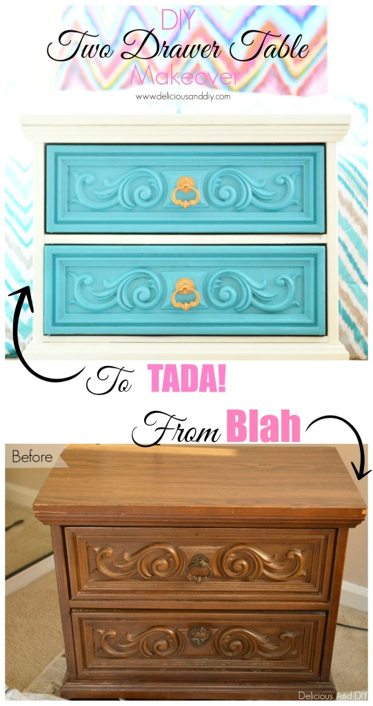 Two Drawer Table Makeover- Delicious and DIY