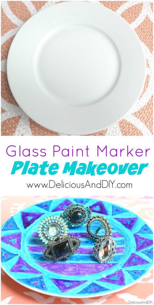 Glass Paint Marker Plate Makeover - Delicious And DIY