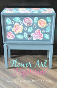 Flower Art Nightstand - Delicious And DIY
