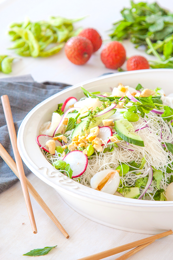 Edamame vermicelli and lychee salad recipe - a delicious, light vegan salad that is ready in 15 minutes | DeliciousEveryday.com