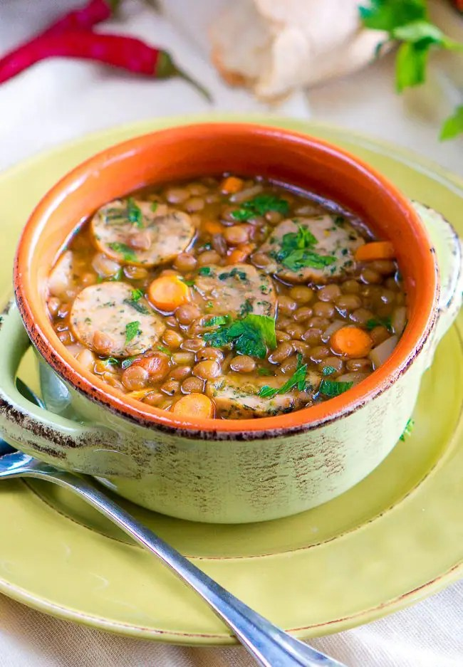 Italian Lentil Soup with Sausage - Delicious Meets Healthy