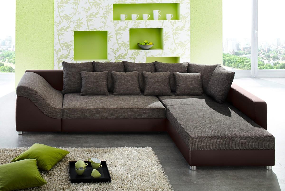 Eckcouch braun strukturstoff  Ecksofa Mit Recamiere Links: Mustang eckgarnitur sofa in cognac ...