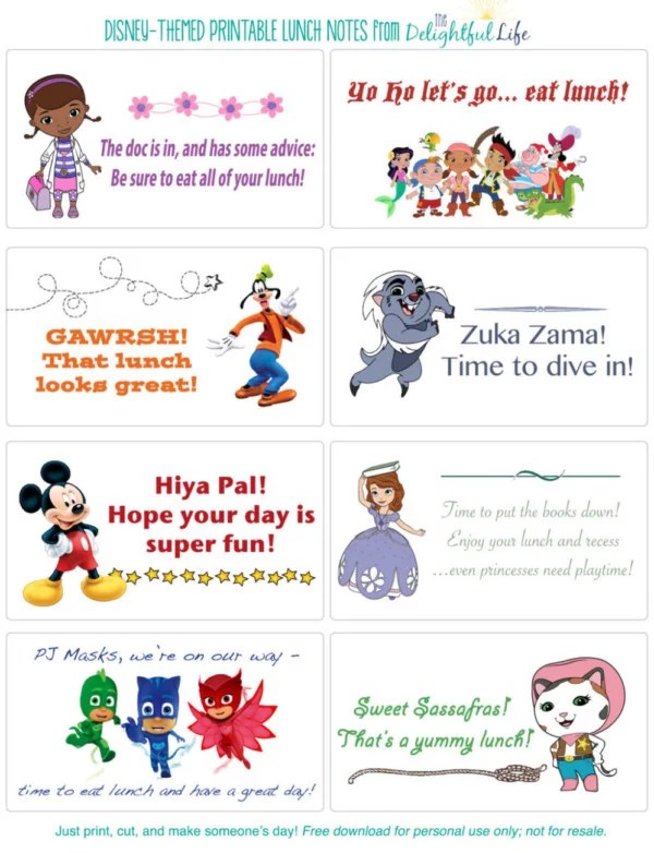 50+ Free Disney Printable Lunch Notes The Delightful Life