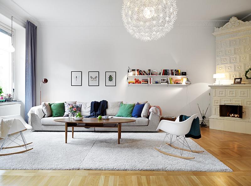 Elegante piso con suelo de parquet arce molduras en los - Molduras para chimeneas ...