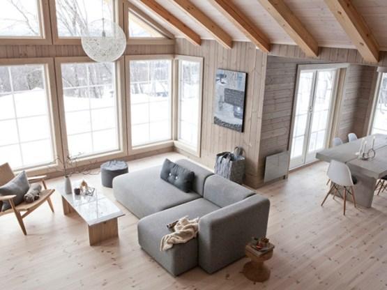 suelo y techo de madera fotos muebles de diseño nórdico estilo nórdico invierno decoración diseño de interiores nórdicos decoración casas de madera casas nórdicas de campo deco casas con grandes ventanales casa noruega de madera decoración blog decoración nordica escandinava