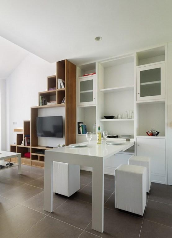 soluciones almacenamiento mueble doble función inspiración pisos pequeños estilo nórdico españa diseño interiores aticos duplex decoración comedores diáfanos cocinas modernas abiertas pequeñas cocinas blancas blog decoracion interiores