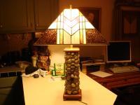 Prairie Style Lamp Shade On Wood/Stone Base - Delphi ...