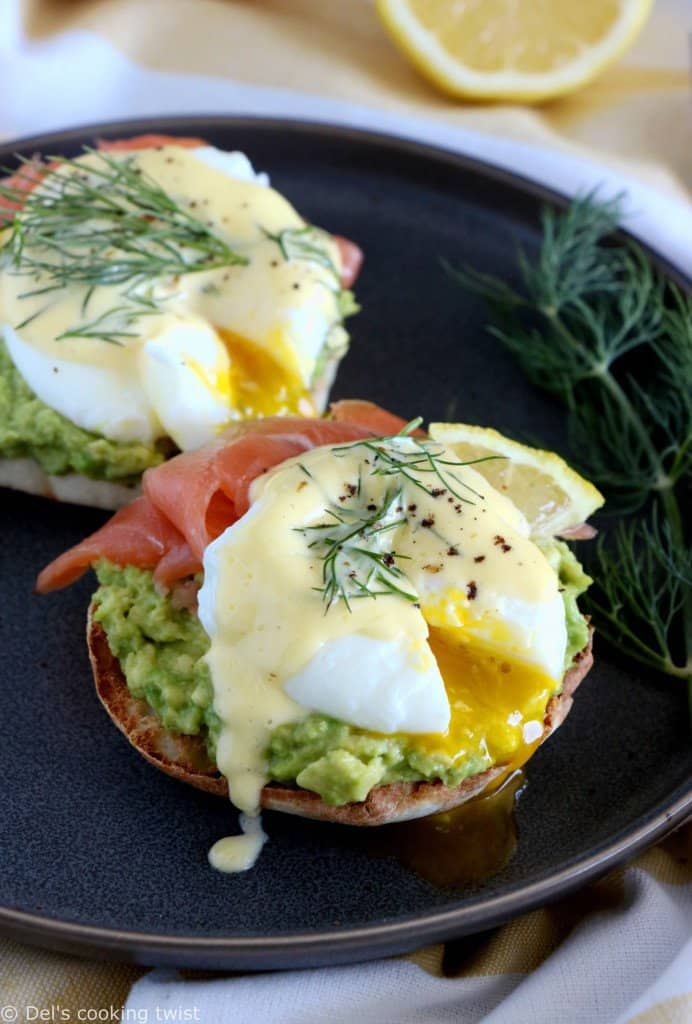 Fancy Salmon-Avocado Eggs Benedict \u2014 Del\u0027s cooking twist