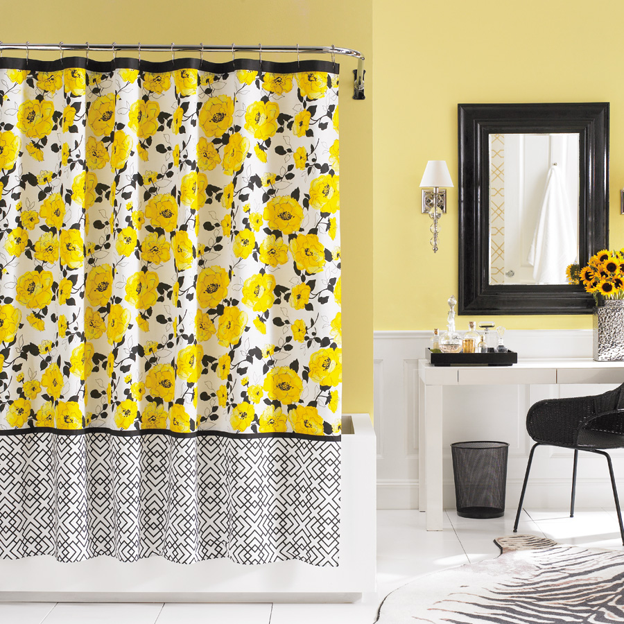 Black and yellow shower curtain furniture
