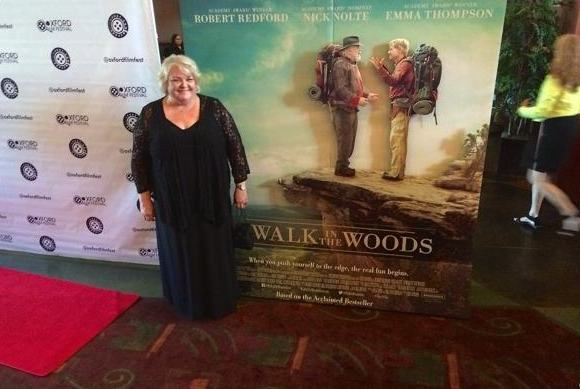 Supporting Actress Susan McPhail on the red carpet at the premier for A Walk in the Woods in Oxford