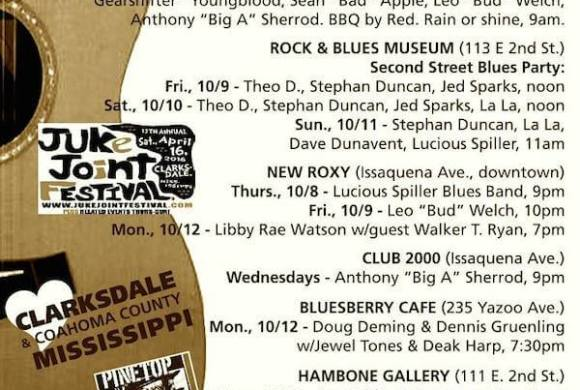 Sounds Around Town in Clarksdale beginning week of Thursday, October 8, 2015