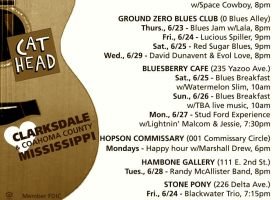Sounds Around Town in Clarksdale week starting Thursday, June 24, 2016.