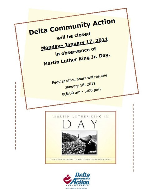 Offices Closing for MLK Day - Delta Community Action Foundation, Inc