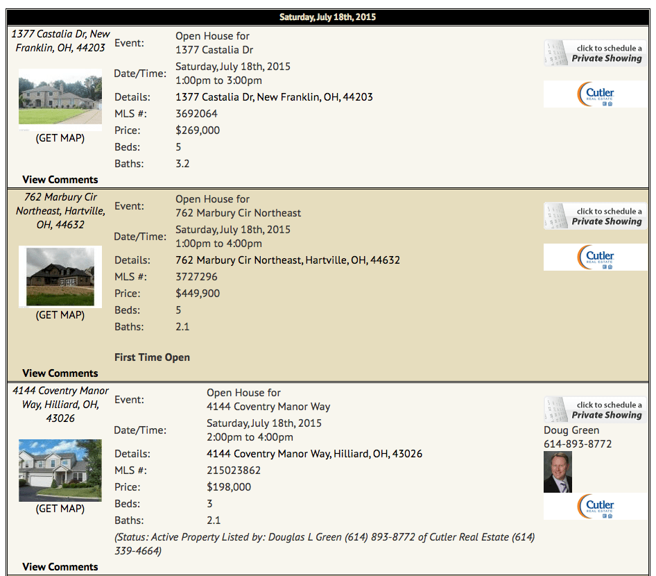 Increase Awareness For Open House Listings On Your Web Site